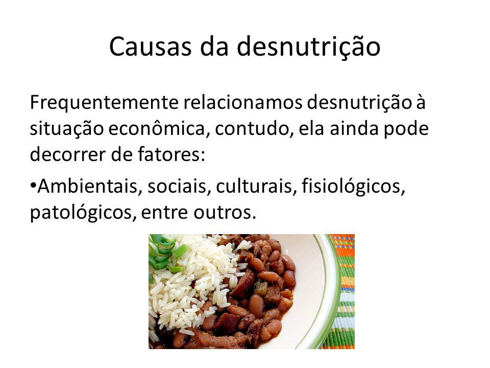 Causas da desnutrição Frequentemente relacionamos desnutrição à situação econômica, contudo, ela ainda pode decorrer de fatores: Ambientais, sociais, culturais, fisiológicos, patológicos, entre outros.