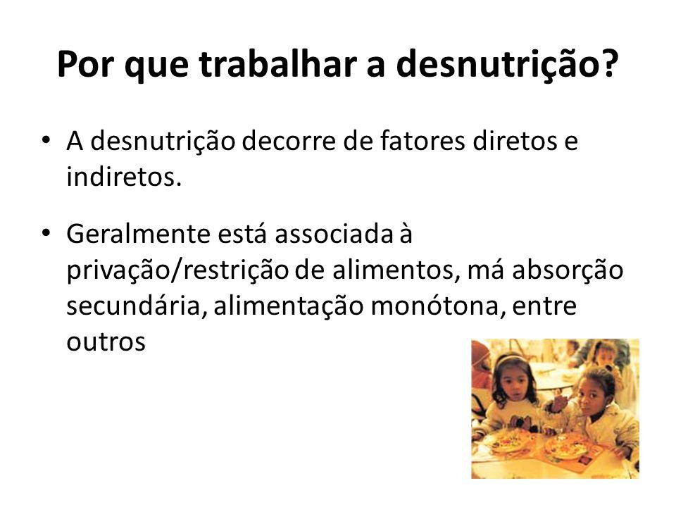Por que trabalhar a desnutrição. A desnutrição decorre de fatores diretos e indiretos.