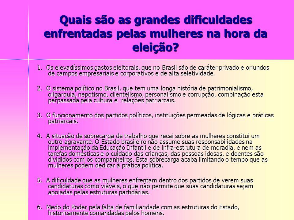 Quais são as grandes dificuldades enfrentadas pelas mulheres na hora da eleição? 1. Os elevadíssimos gastos eleitorais, que no Brasil são de caráter p