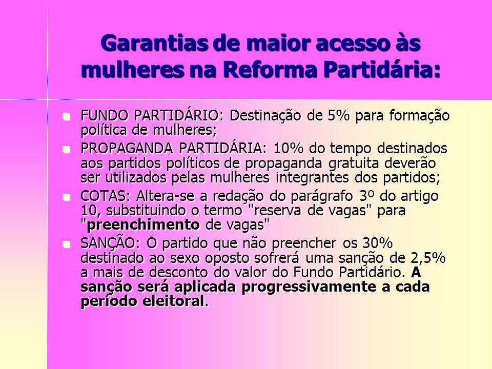 Garantias de maior acesso às mulheres na Reforma Partidária: FUNDO PARTIDÁRIO: Destinação de 5% para formação política de mulheres; FUNDO PARTIDÁRIO: