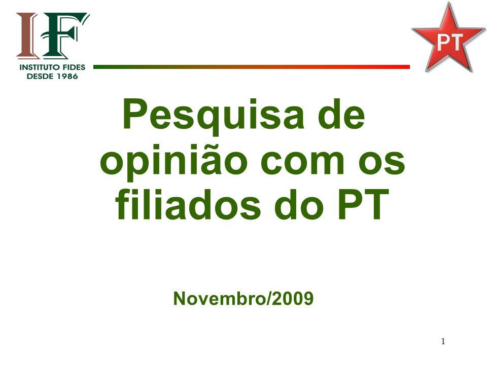 1 Pesquisa de opinião com os filiados do PT Novembro/2009