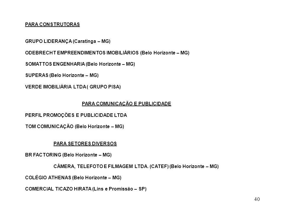 40 PARA CONSTRUTORAS GRUPO LIDERANÇA (Caratinga – MG) ODEBRECHT EMPREENDIMENTOS IMOBILIÁRIOS (Belo Horizonte – MG) SOMATTOS ENGENHARIA (Belo Horizonte – MG) SUPERAS (Belo Horizonte – MG) VERDE IMOBILIÁRIA LTDA ( GRUPO PISA) PARA COMUNICAÇÃO E PUBLICIDADE PERFIL PROMOÇÕES E PUBLICIDADE LTDA TOM COMUNICAÇÃO (Belo Horizonte – MG) PARA SETORES DIVERSOS BR FACTORING (Belo Horizonte – MG) CÂMERA, TELEFOTO E FILMAGEM LTDA.