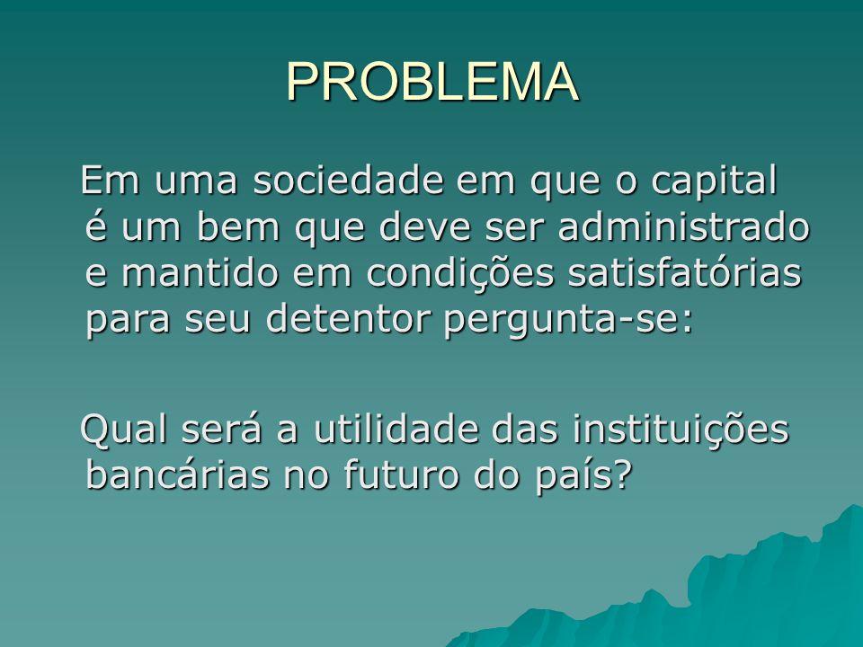 PROBLEMA Em uma sociedade em que o capital é um bem que deve ser administrado e mantido em condições satisfatórias para seu detentor pergunta-se: Em u