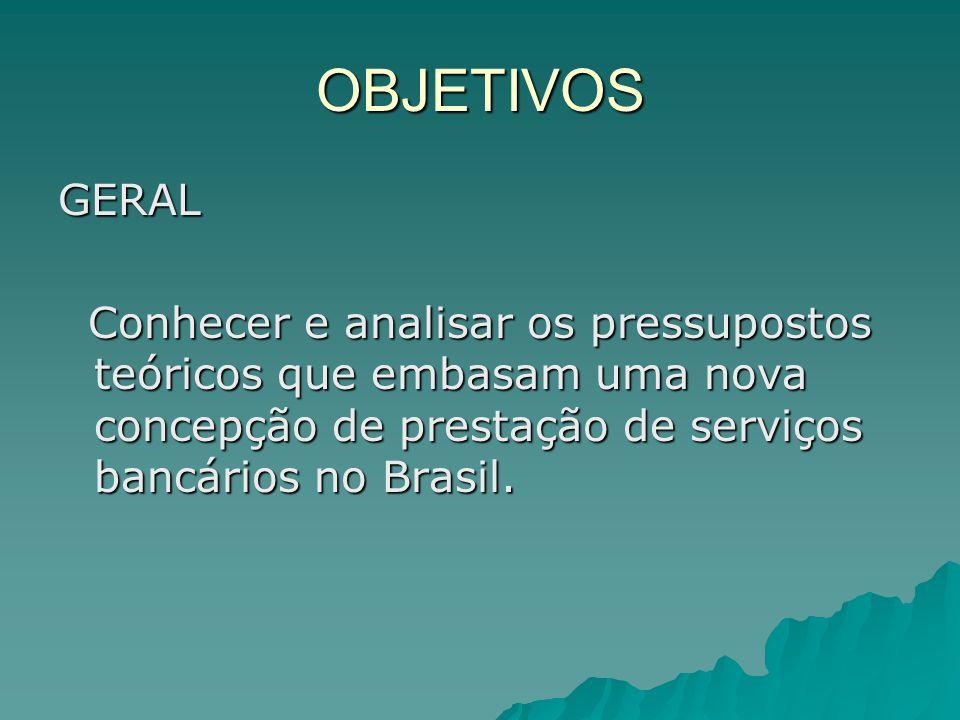 OBJETIVOS GERAL Conhecer e analisar os pressupostos teóricos que embasam uma nova concepção de prestação de serviços bancários no Brasil. Conhecer e a