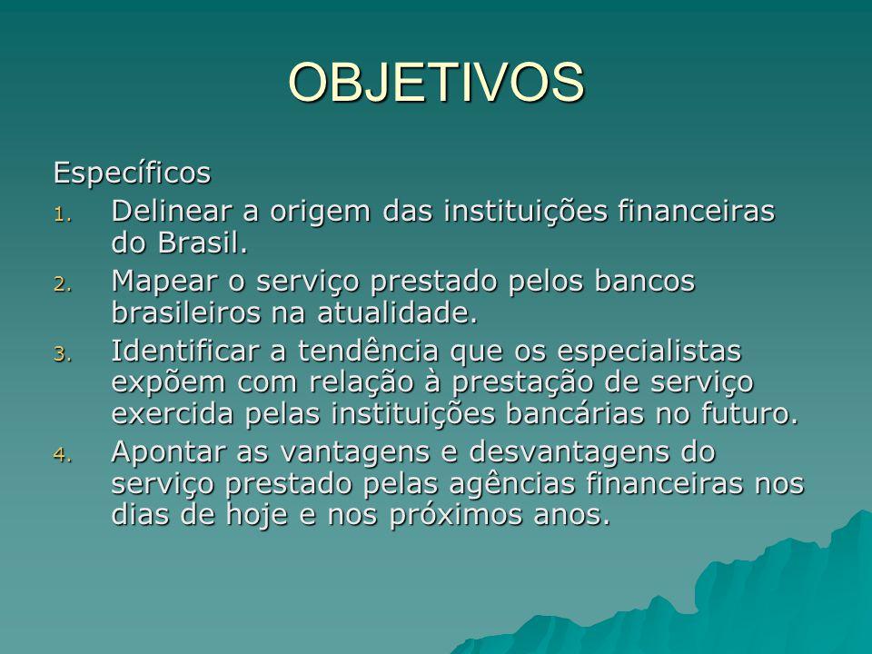OBJETIVOS Específicos 1. Delinear a origem das instituições financeiras do Brasil. 2. Mapear o serviço prestado pelos bancos brasileiros na atualidade