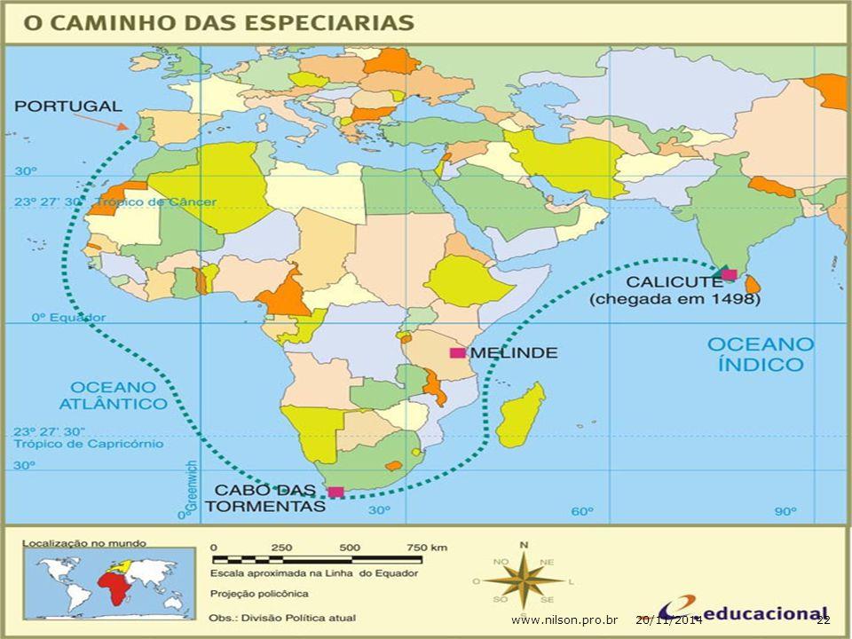  No ano de 1498, Portugal realiza uma das mais importantes navegações: é a chegada das caravelas, comandadas por Vasco da Gama às Índias.