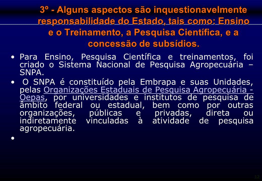 12 3º - Alguns aspectos são inquestionavelmente responsabilidade do Estado, tais como: Ensino e o Treinamento, a Pesquisa Científica, e a concessão de