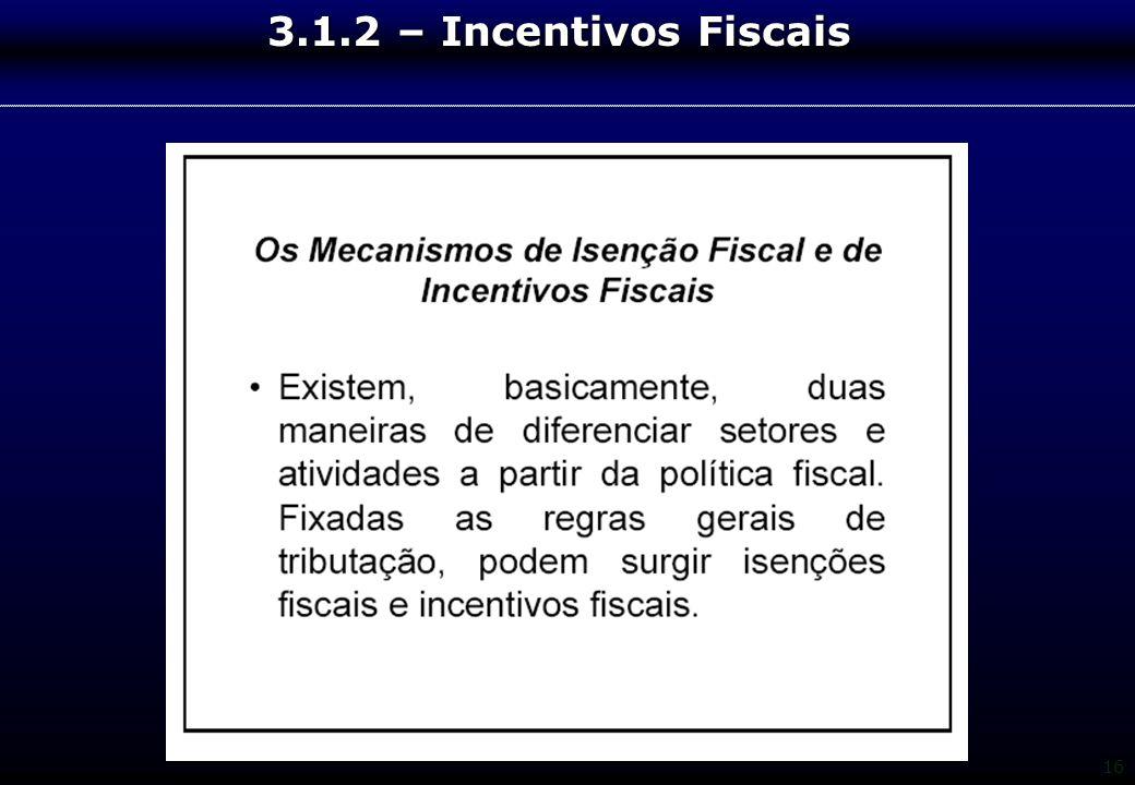 16 3.1.2 – Incentivos Fiscais