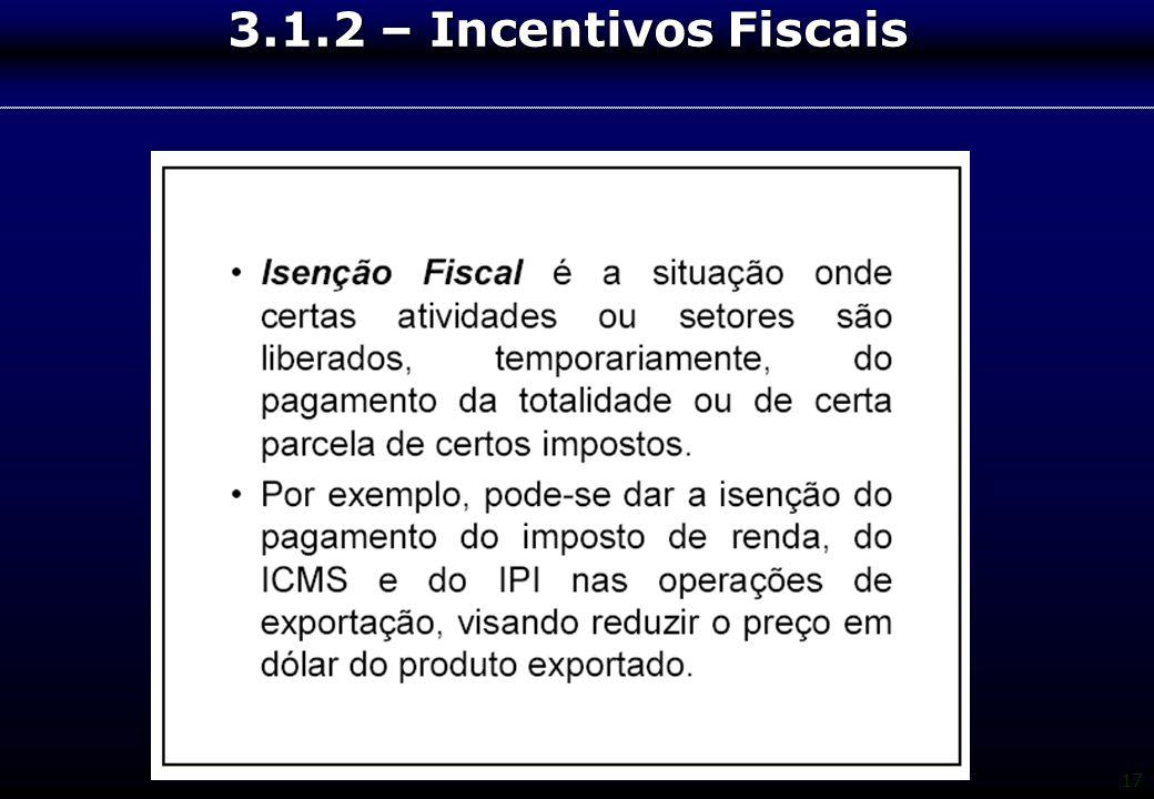 17 3.1.2 – Incentivos Fiscais