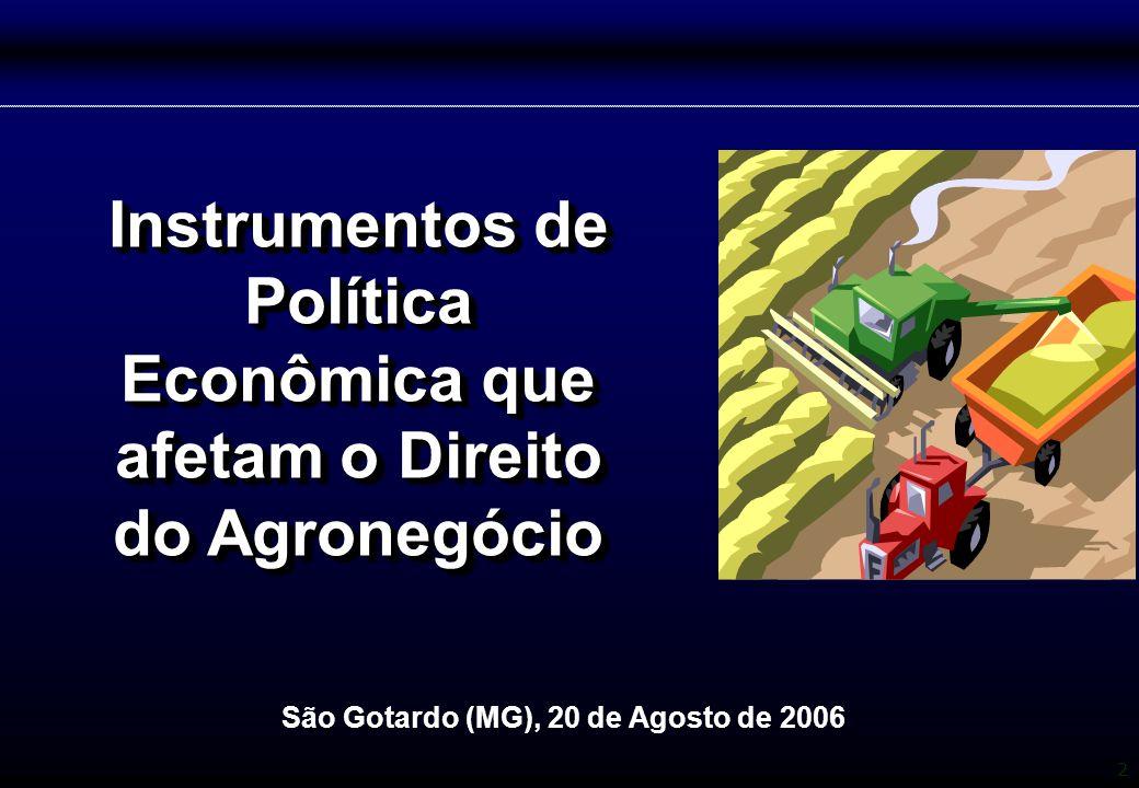 2 Instrumentos de Política Econômica que afetam o Direito do Agronegócio São Gotardo (MG), 20 de Agosto de 2006