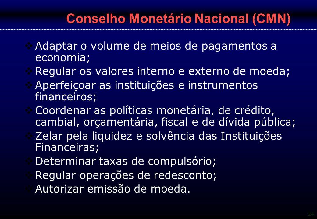 24 Conselho Monetário Nacional (CMN)  Adaptar o volume de meios de pagamentos a economia;  Regular os valores interno e externo de moeda;  Aperfeiç