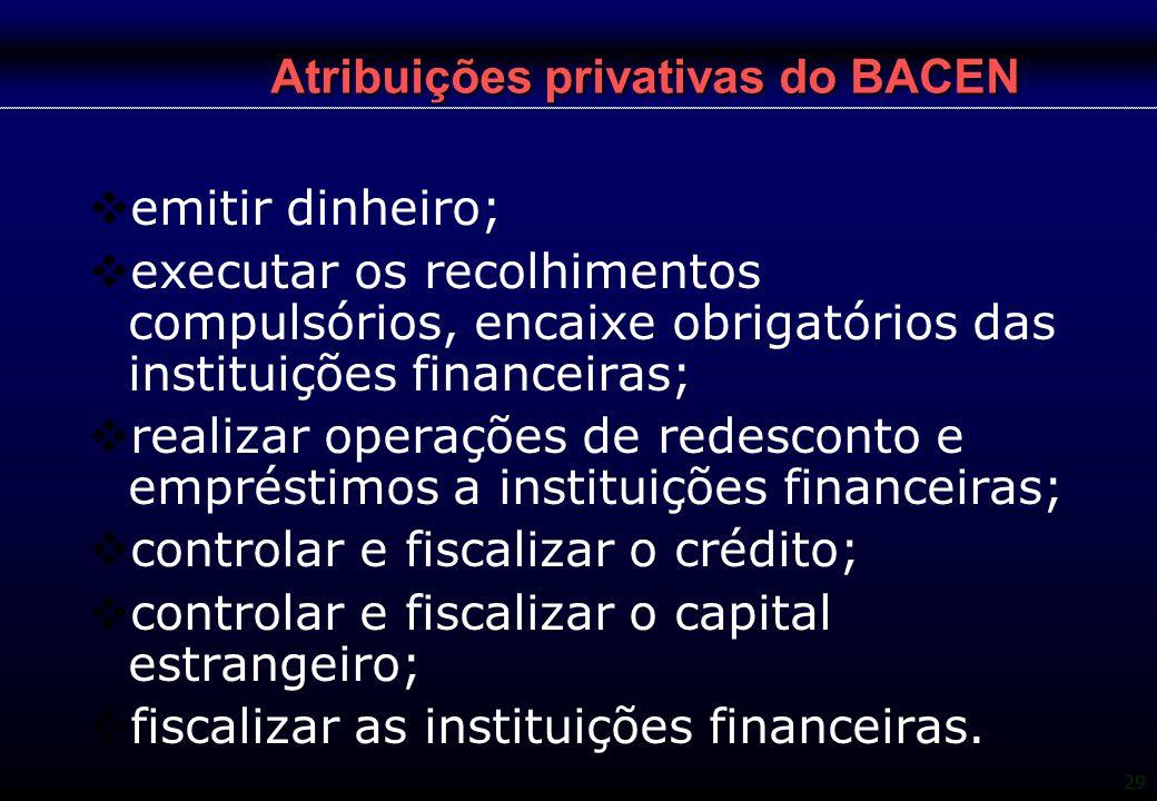 29 Atribuições privativas do BACEN  emitir dinheiro;  executar os recolhimentos compulsórios, encaixe obrigatórios das instituições financeiras;  r