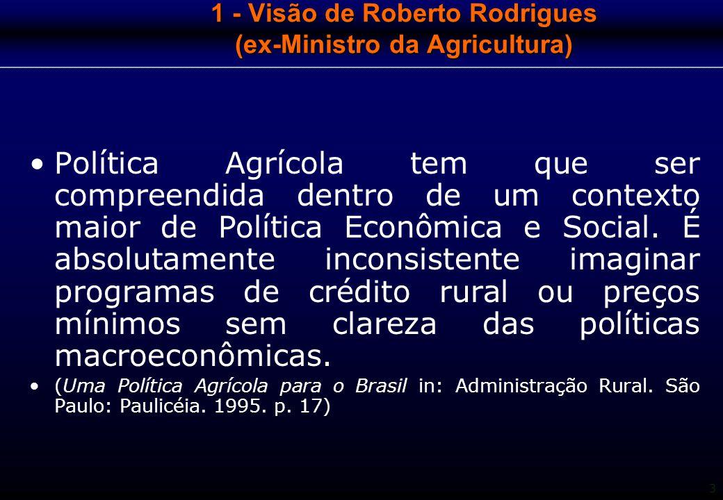 3 1 - Visão de Roberto Rodrigues (ex-Ministro da Agricultura) Política Agrícola tem que ser compreendida dentro de um contexto maior de Política Econô