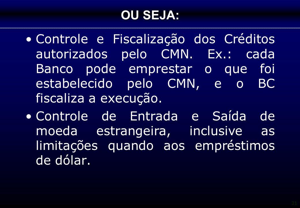 31 OU SEJA: Controle e Fiscalização dos Créditos autorizados pelo CMN. Ex.: cada Banco pode emprestar o que foi estabelecido pelo CMN, e o BC fiscaliz