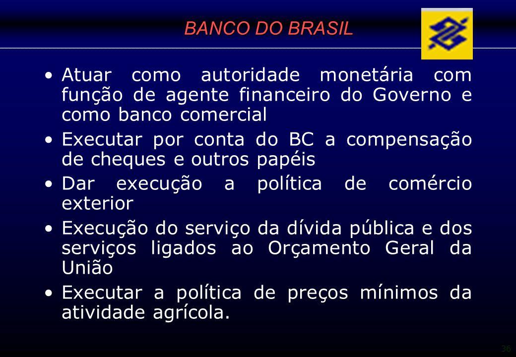 36 BANCO DO BRASIL Atuar como autoridade monetária com função de agente financeiro do Governo e como banco comercial Executar por conta do BC a compen