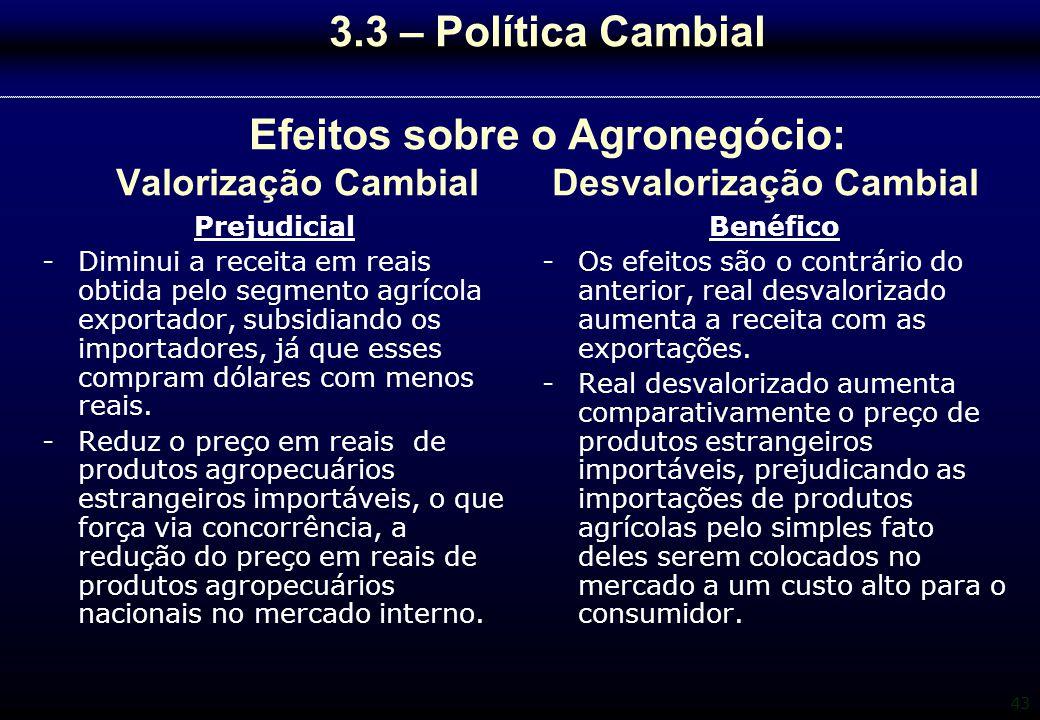 43 3.3 – Política Cambial Efeitos sobre o Agronegócio: Valorização Cambial Desvalorização Cambial Prejudicial -Diminui a receita em reais obtida pelo