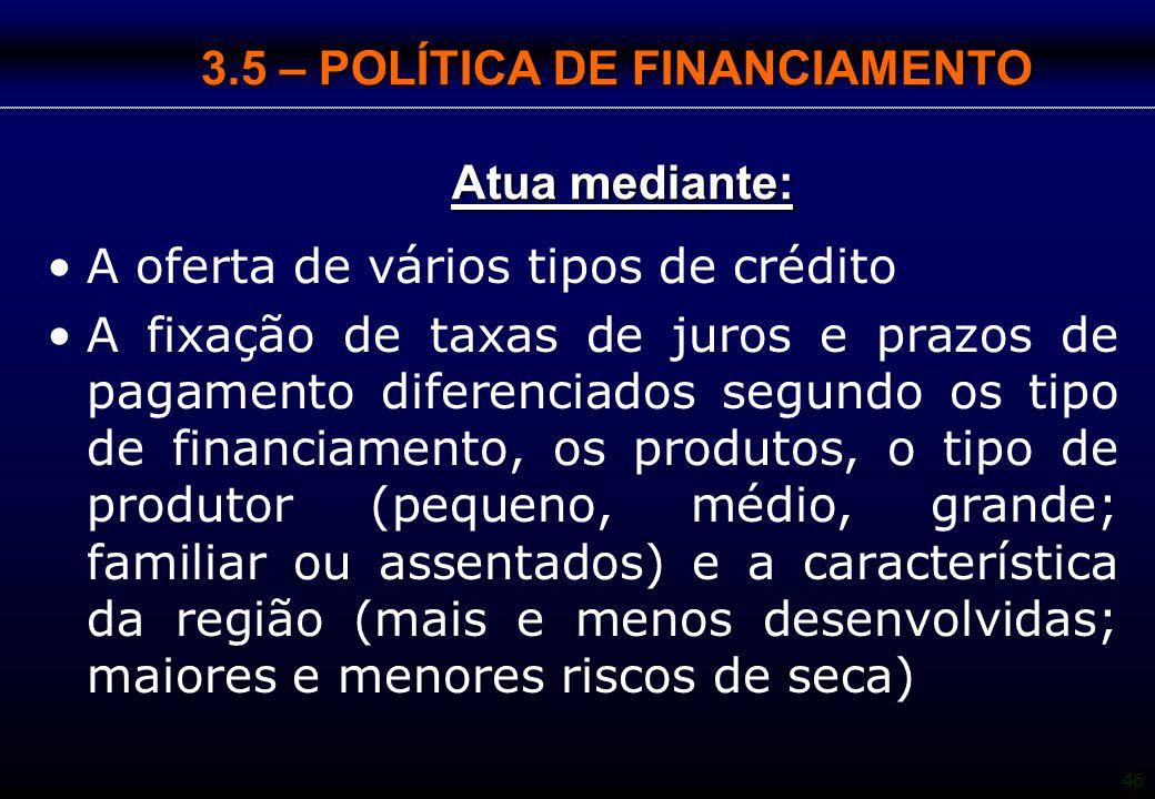 46 3.5 – POLÍTICA DE FINANCIAMENTO Atua mediante: A oferta de vários tipos de crédito A fixação de taxas de juros e prazos de pagamento diferenciados