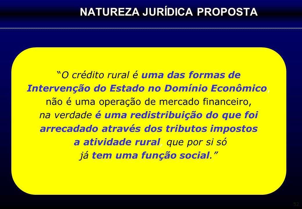 """52 NATUREZA JURÍDICA PROPOSTA """"O crédito rural é uma das formas de Intervenção do Estado no Domínio Econômico, não é uma operação de mercado financeir"""