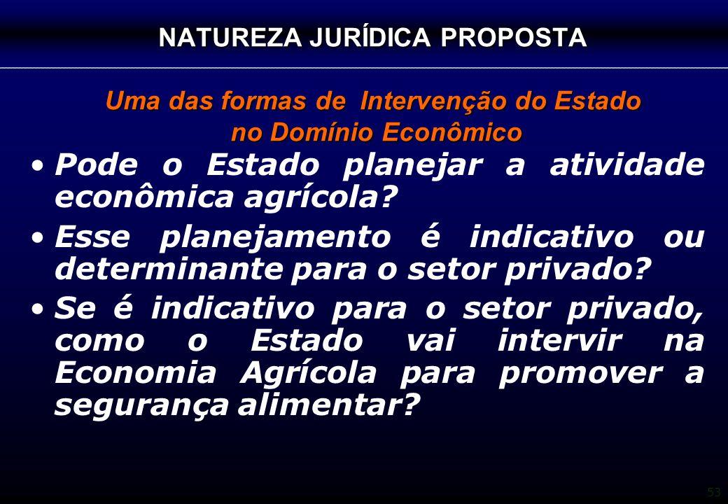 53 NATUREZA JURÍDICA PROPOSTA Uma das formas de Intervenção do Estado no Domínio Econômico Pode o Estado planejar a atividade econômica agrícola? Esse