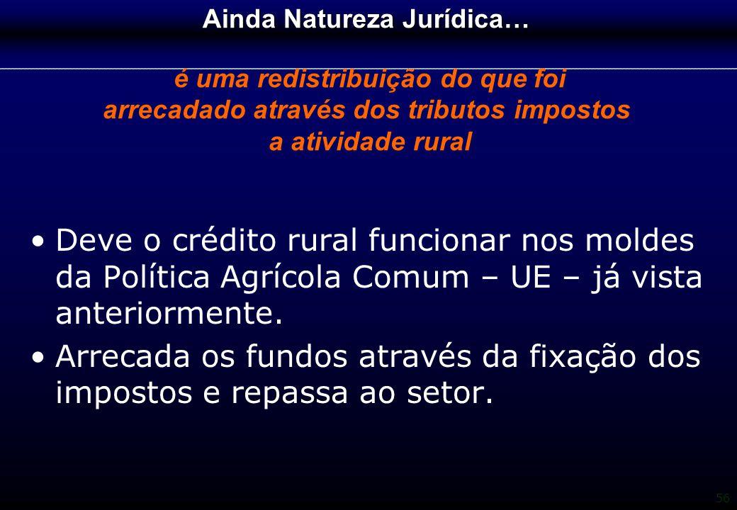 56 Ainda Natureza Jurídica… Ainda Natureza Jurídica… é uma redistribuição do que foi arrecadado através dos tributos impostos a atividade rural Deve o