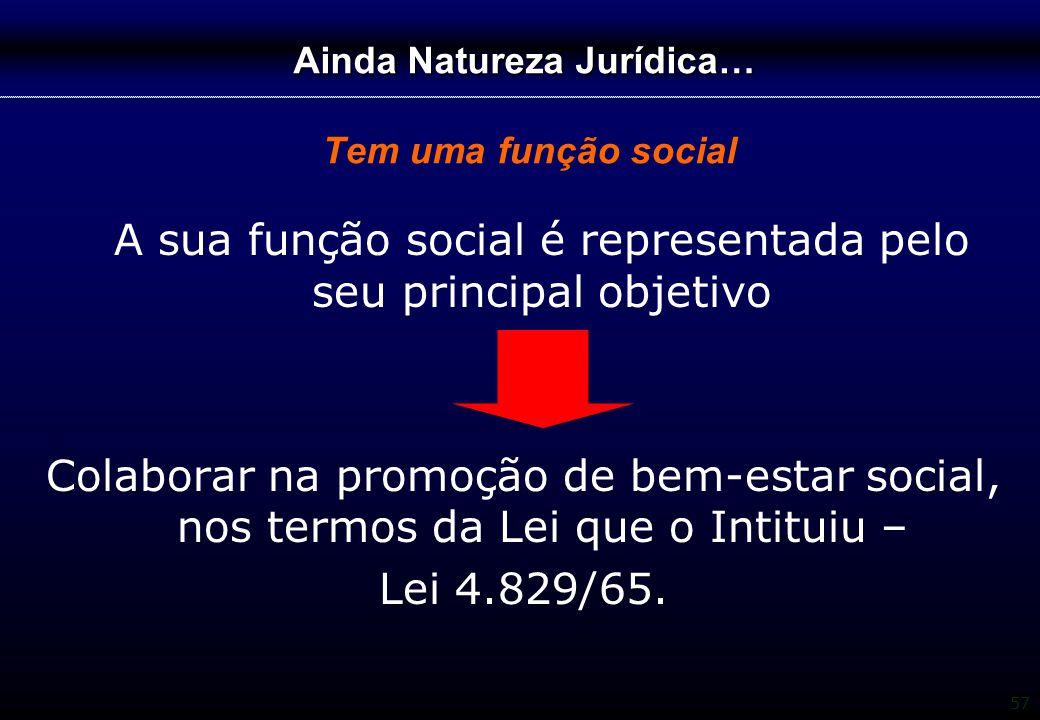 57 Ainda Natureza Jurídica… Ainda Natureza Jurídica… Tem uma função social A sua função social é representada pelo seu principal objetivo Colaborar na