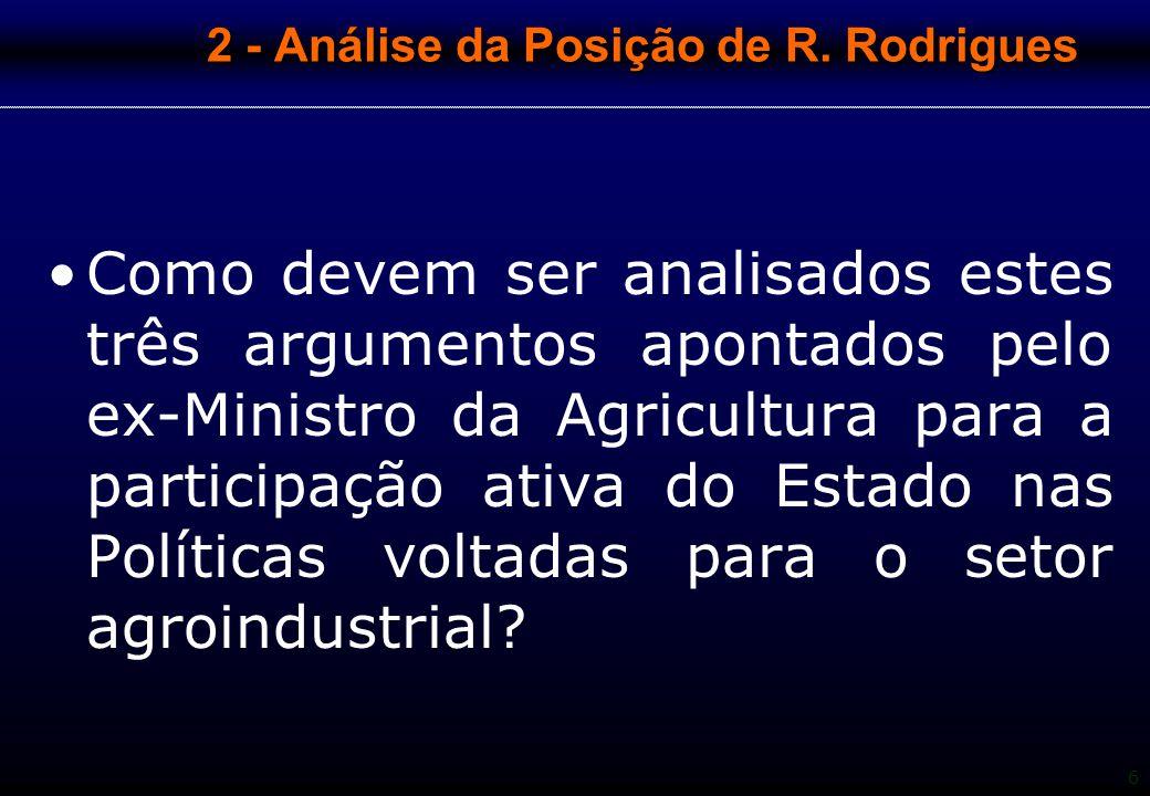 6 2 - Análise da Posição de R. Rodrigues Como devem ser analisados estes três argumentos apontados pelo ex-Ministro da Agricultura para a participação