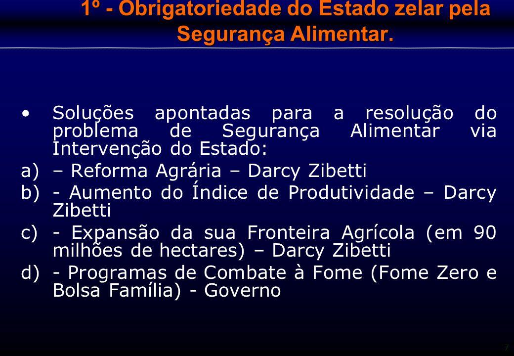 7 1º - Obrigatoriedade do Estado zelar pela Segurança Alimentar. Soluções apontadas para a resolução do problema de Segurança Alimentar via Intervençã