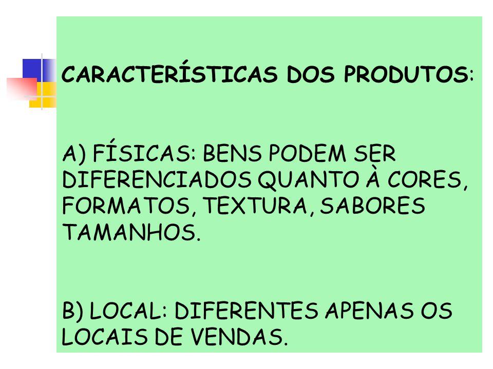 CARACTERÍSTICAS DOS PRODUTOS: A) FÍSICAS: BENS PODEM SER DIFERENCIADOS QUANTO À CORES, FORMATOS, TEXTURA, SABORES TAMANHOS. B) LOCAL: DIFERENTES APENA