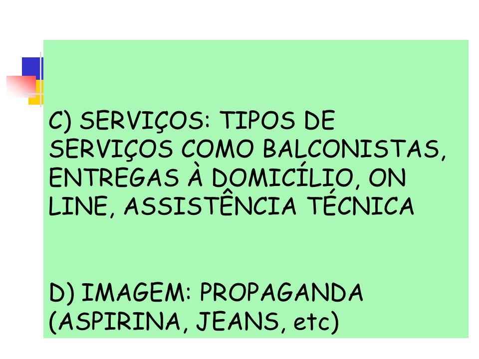 C) SERVIÇOS: TIPOS DE SERVIÇOS COMO BALCONISTAS, ENTREGAS À DOMICÍLIO, ON LINE, ASSISTÊNCIA TÉCNICA D) IMAGEM: PROPAGANDA (ASPIRINA, JEANS, etc)