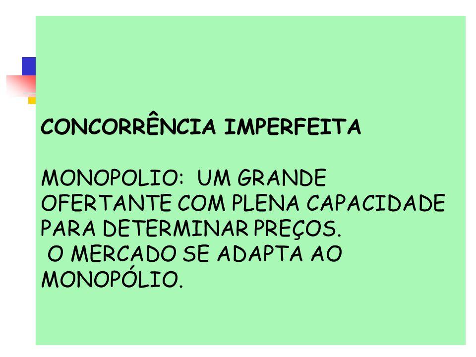 CONCORRÊNCIA IMPERFEITA MONOPOLIO: UM GRANDE OFERTANTE COM PLENA CAPACIDADE PARA DETERMINAR PREÇOS. O MERCADO SE ADAPTA AO MONOPÓLIO.