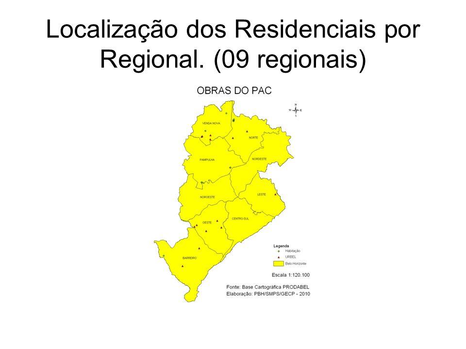 Localização dos Residenciais por Regional. (09 regionais)