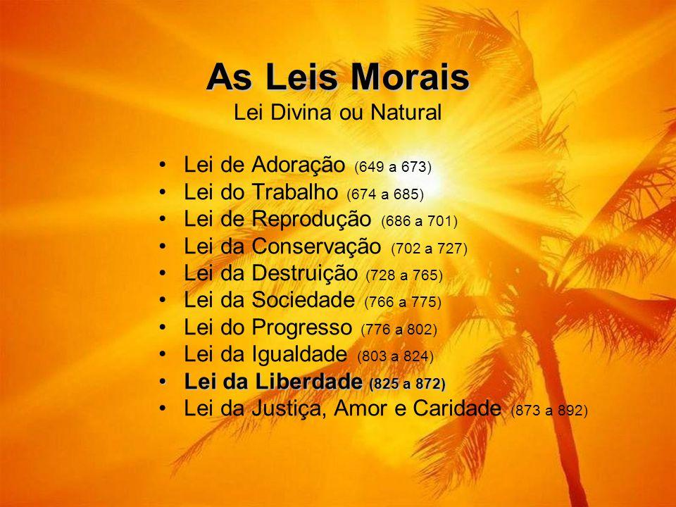 As Leis Morais As Leis Morais Lei Divina ou Natural Lei de Adoração (649 a 673) Lei do Trabalho (674 a 685) Lei de Reprodução (686 a 701) Lei da Conservação (702 a 727) Lei da Destruição (728 a 765) Lei da Sociedade (766 a 775) Lei do Progresso (776 a 802) Lei da Igualdade (803 a 824) Lei da Liberdade (825 a 872)Lei da Liberdade (825 a 872) Lei da Justiça, Amor e Caridade (873 a 892)