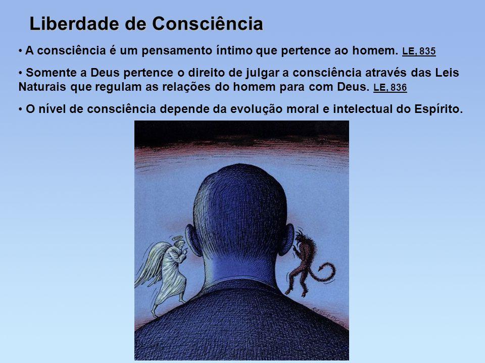 Liberdade de Consciência A consciência é um pensamento íntimo que pertence ao homem. LE, 835 Somente a Deus pertence o direito de julgar a consciência
