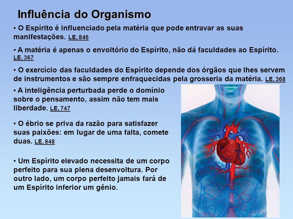 Influência do Organismo O Espírito é influenciado pela matéria que pode entravar as suas manifestações. LE, 846 A matéria é apenas o envoltório do Esp