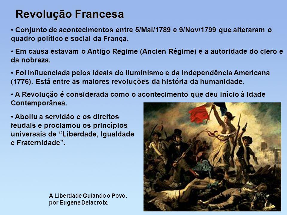 Revolução Francesa Conjunto de acontecimentos entre 5/Mai/1789 e 9/Nov/1799 que alteraram o quadro político e social da França. Em causa estavam o Ant