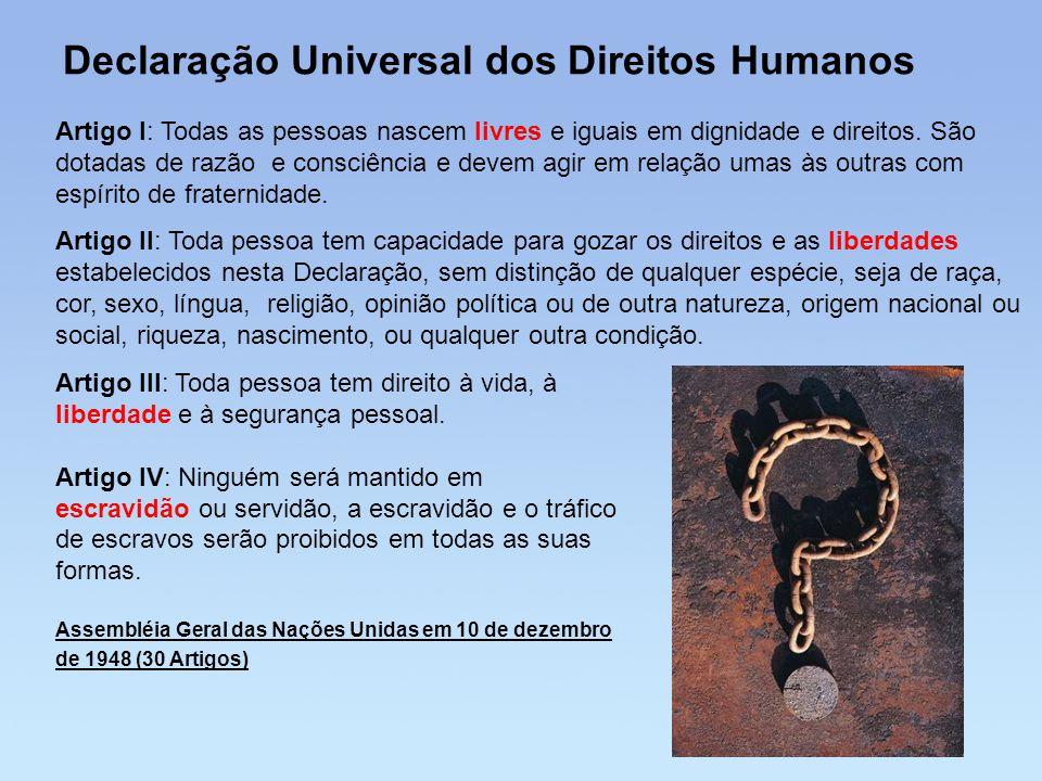 Declaração Universal dos Direitos Humanos Artigo I: Todas as pessoas nascem livres e iguais em dignidade e direitos. São dotadas de razão e consciênci
