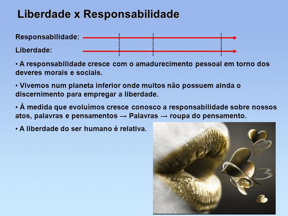 Liberdade x Responsabilidade Responsabilidade: Liberdade: A responsabilidade cresce com o amadurecimento pessoal em torno dos deveres morais e sociais
