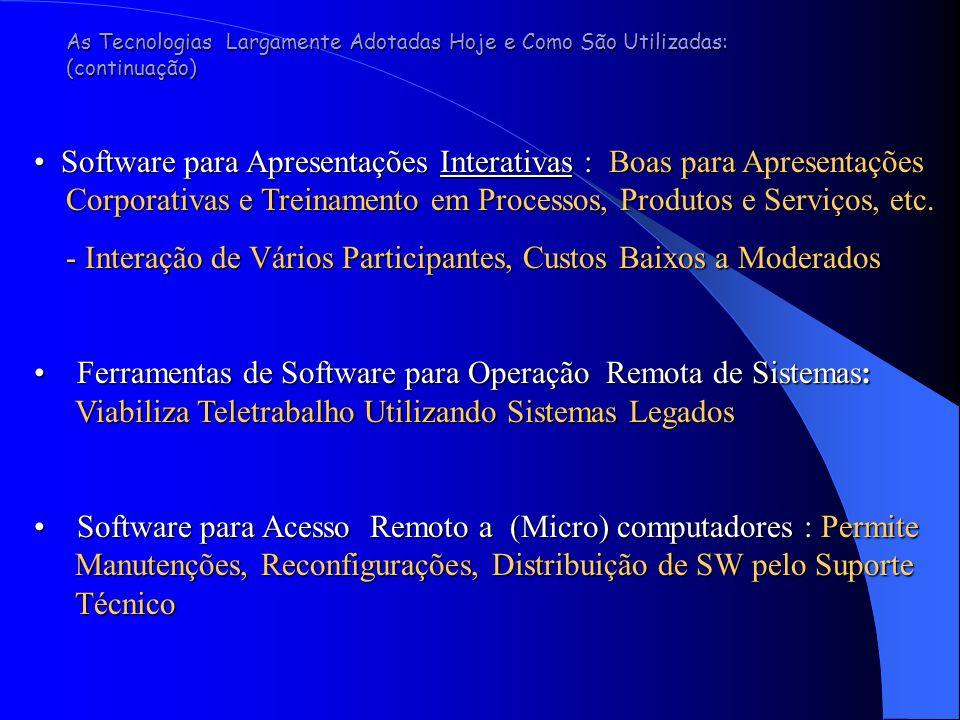 As Tecnologias Largamente Adotadas Hoje e Como São Utilizadas: (continuação) Software para Apresentações Interativas : Boas para Apresentações  Corporativas e Treinamento em Processos, Produtos e Serviços, etc.