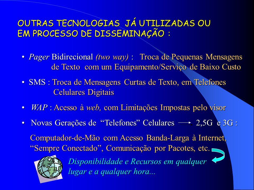 OUTRAS TECNOLOGIAS JÁ UTILIZADAS OU EM PROCESSO DE DISSEMINAÇÃO : Pager Bidirecional (two way) : Troca de Pequenas Mensagens de Texto com um Equipamen