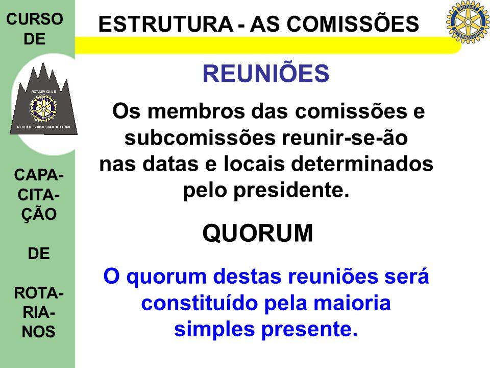 ESTRUTURA - AS COMISSÕES CURSO DE CAPA- CITA- ÇÃO DE ROTA- RIA- NOS REUNIÕES Os membros das comissões e subcomissões reunir-se-ão nas datas e locais determinados pelo presidente.