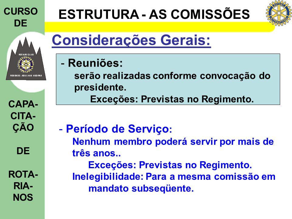 ESTRUTURA - AS COMISSÕES CURSO DE CAPA- CITA- ÇÃO DE ROTA- RIA- NOS Considerações Gerais: - Reuniões: serão realizadas conforme convocação do presidente.