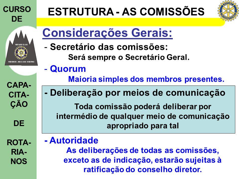 ESTRUTURA - AS COMISSÕES CURSO DE CAPA- CITA- ÇÃO DE ROTA- RIA- NOS Considerações Gerais: - Secretário das comissões: Será sempre o Secretário Geral.