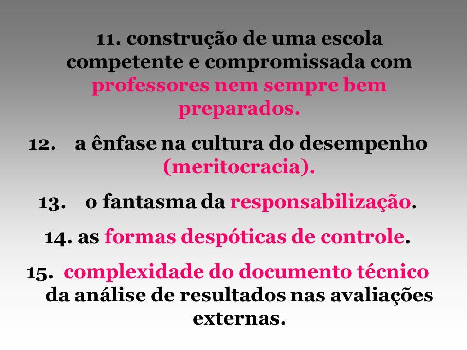 11. construção de uma escola competente e compromissada com professores nem sempre bem preparados. 12.a ênfase na cultura do desempenho (meritocracia)