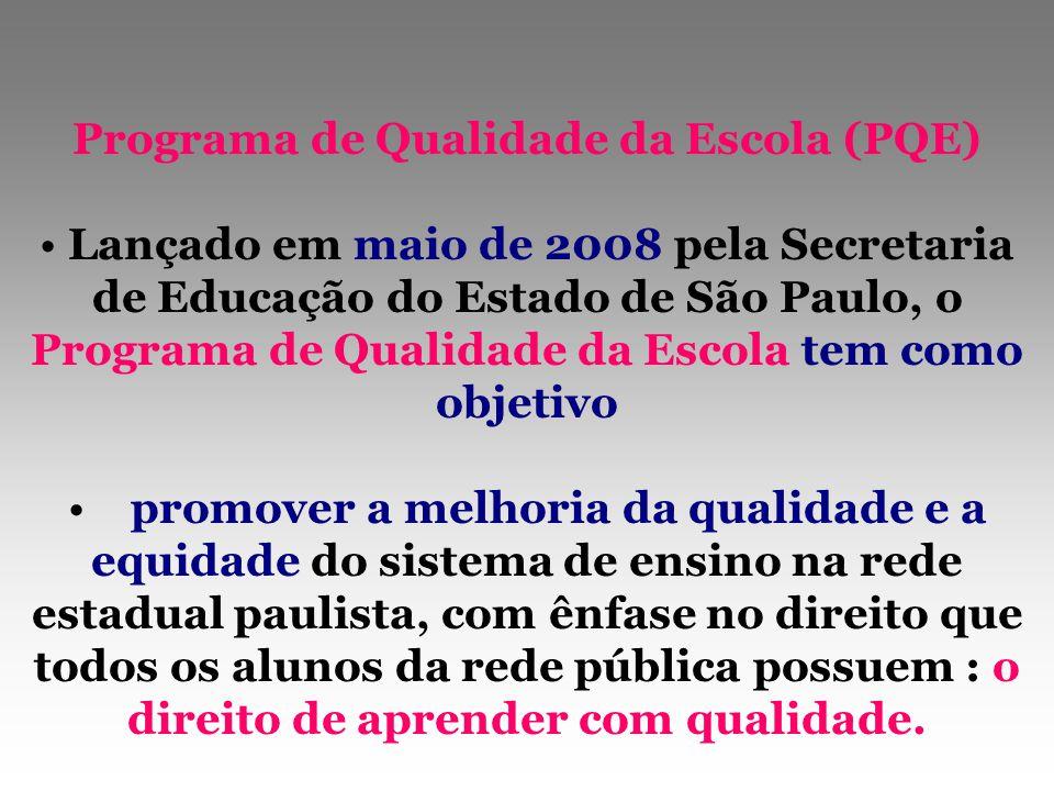 Programa de Qualidade da Escola (PQE) Lançado em maio de 2008 pela Secretaria de Educação do Estado de São Paulo, o Programa de Qualidade da Escola te