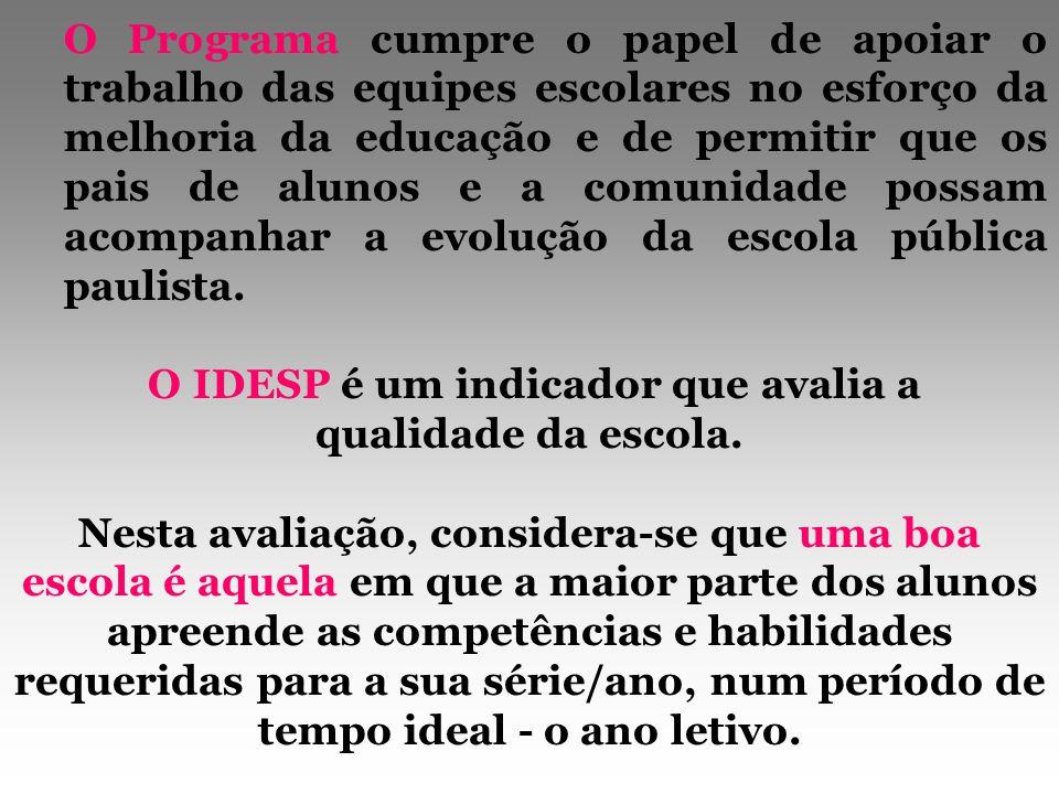 O IDESP é um indicador de desempenho, mas o seu cálculo está na dependência de duas variáveis importantes: o resultado obtido no SARESP e o fluxo escolar, ou seja, não é apenas o produto entre duas variáveis.