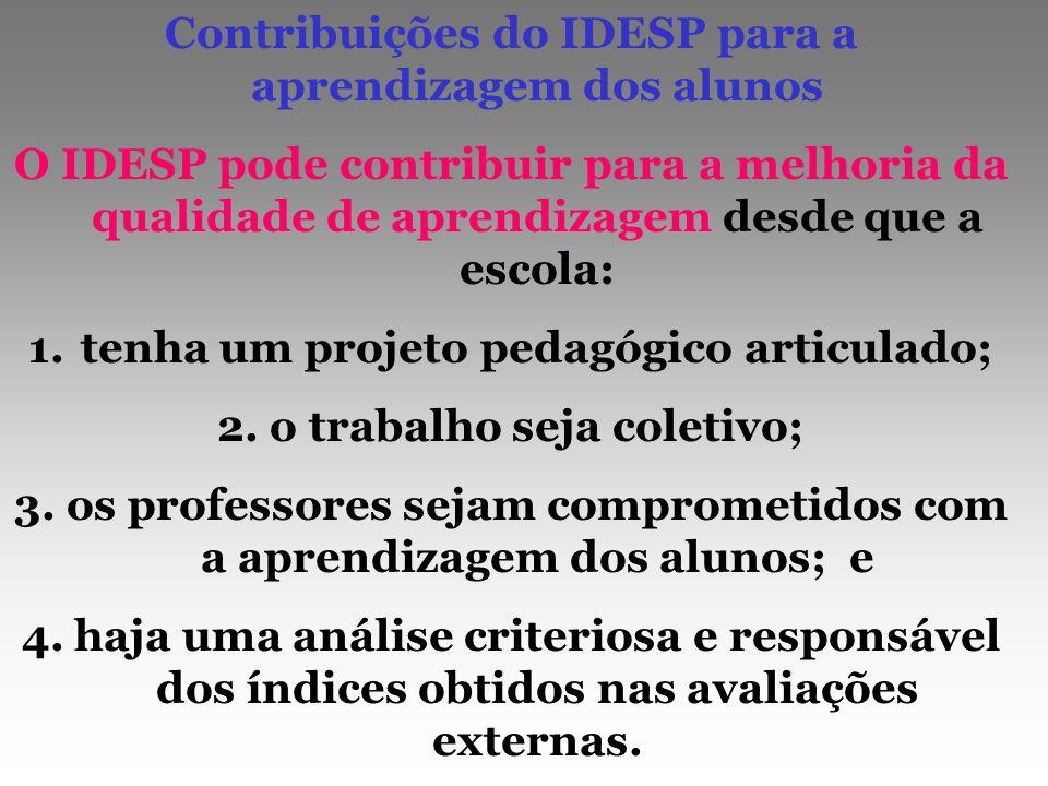 Contribuições do IDESP para a aprendizagem dos alunos O IDESP pode contribuir para a melhoria da qualidade de aprendizagem desde que a escola: 1.tenha