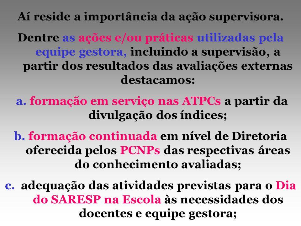 Aí reside a importância da ação supervisora. Dentre as ações e/ou práticas utilizadas pela equipe gestora, incluindo a supervisão, a partir dos result