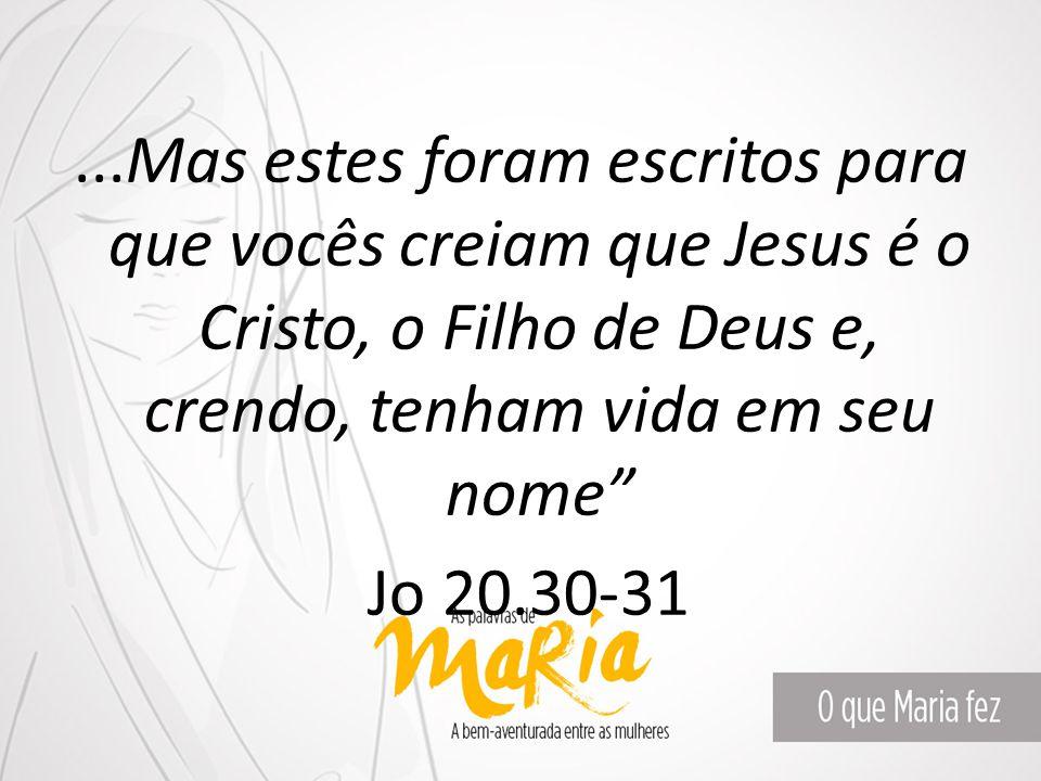 """...Mas estes foram escritos para que vocês creiam que Jesus é o Cristo, o Filho de Deus e, crendo, tenham vida em seu nome"""" Jo 20.30-31"""