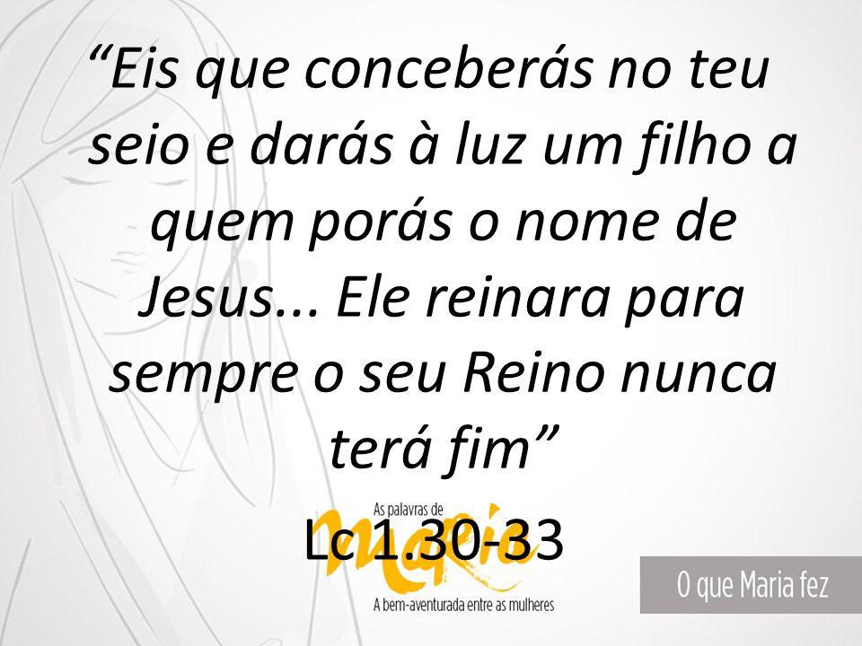 """""""Eis que conceberás no teu seio e darás à luz um filho a quem porás o nome de Jesus... Ele reinara para sempre o seu Reino nunca terá fim"""" Lc 1.30-33"""