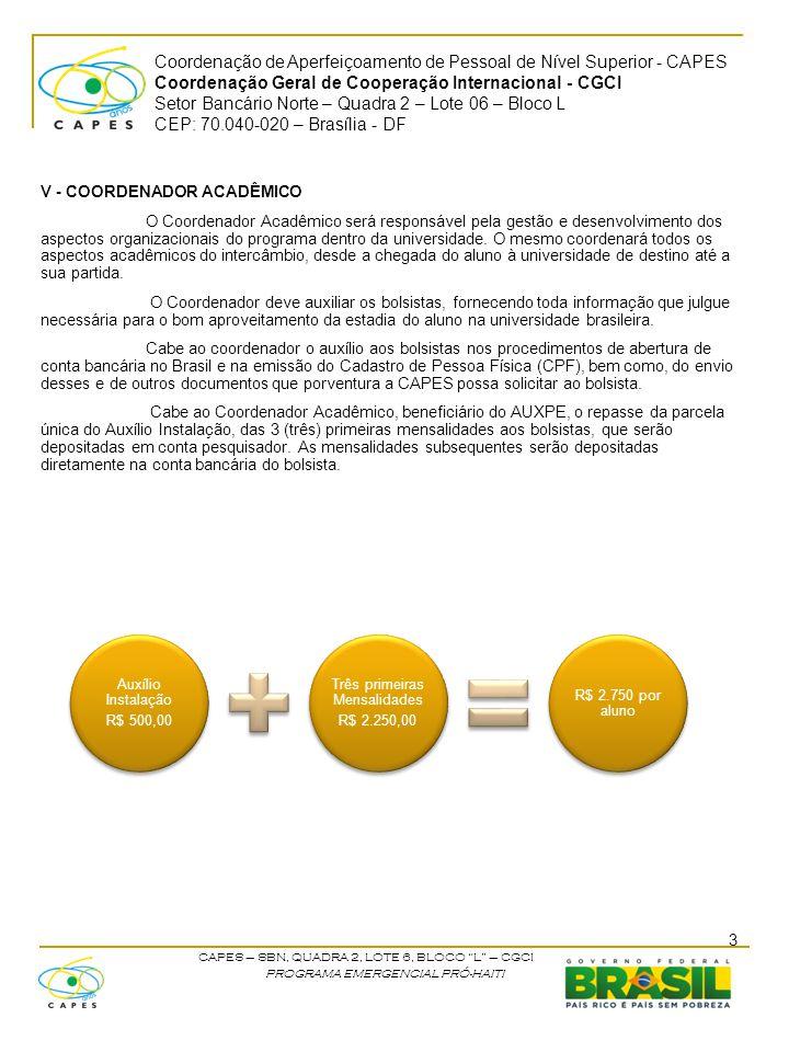 Coordenação de Aperfeiçoamento de Pessoal de Nível Superior - CAPES Coordenação Geral de Cooperação Internacional - CGCI Setor Bancário Norte – Quadra 2 – Lote 06 – Bloco L CEP: 70.040-020 – Brasília - DF CAPES – SBN, QUADRA 2, LOTE 6, BLOCO L – CGCI PROGRAMA EMERGENCIAL PRÓ-HAITI VI – RESPONSABILIDADES DO BOLSISTA Os estudantes deverão obter passaporte e providenciar o visto de estudante junto à embaixada brasileira.